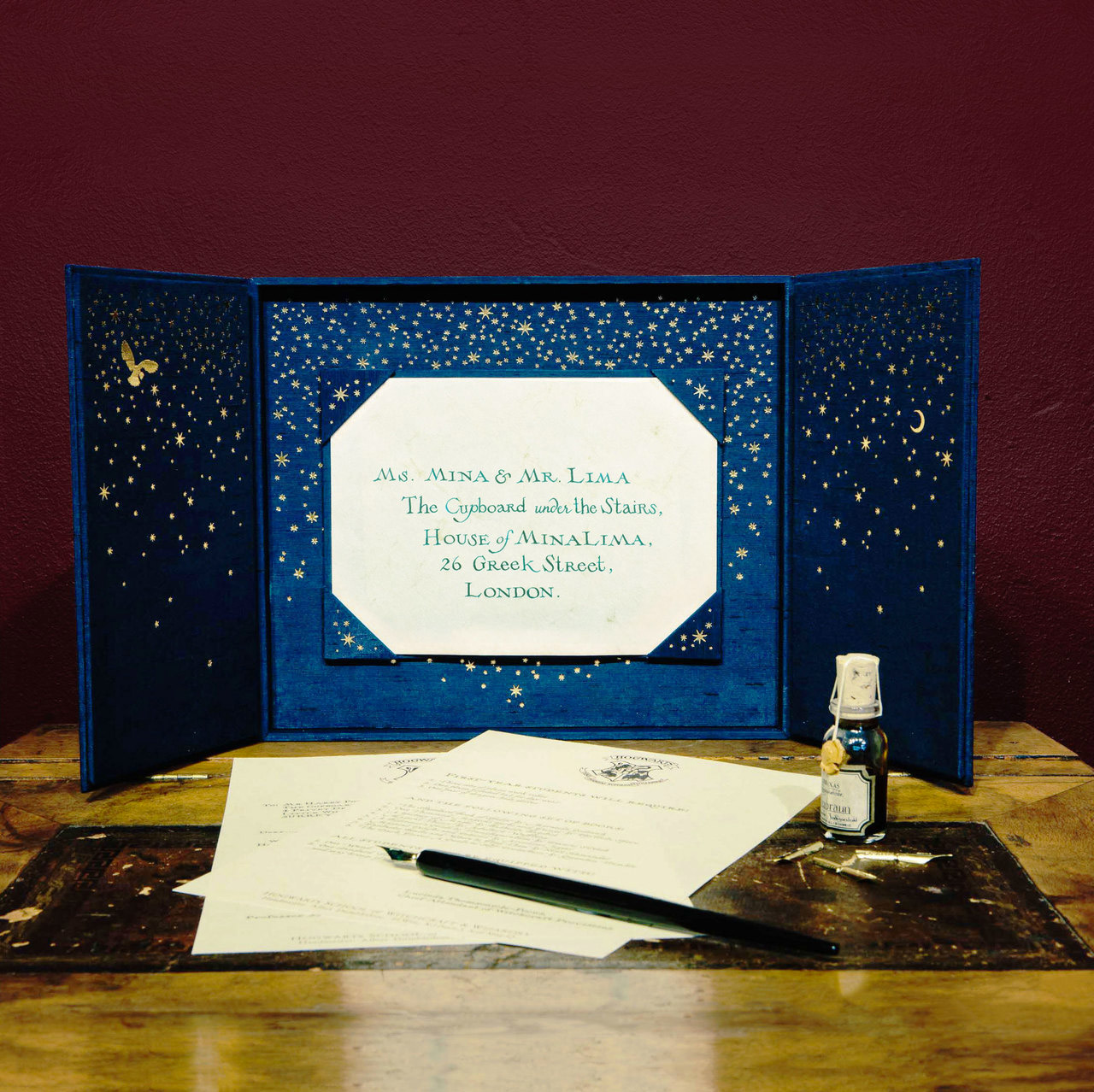 This hand-lettered, personalized Hogwarts acceptance letter is addressed to Ms. Mina and Mr. Lima.