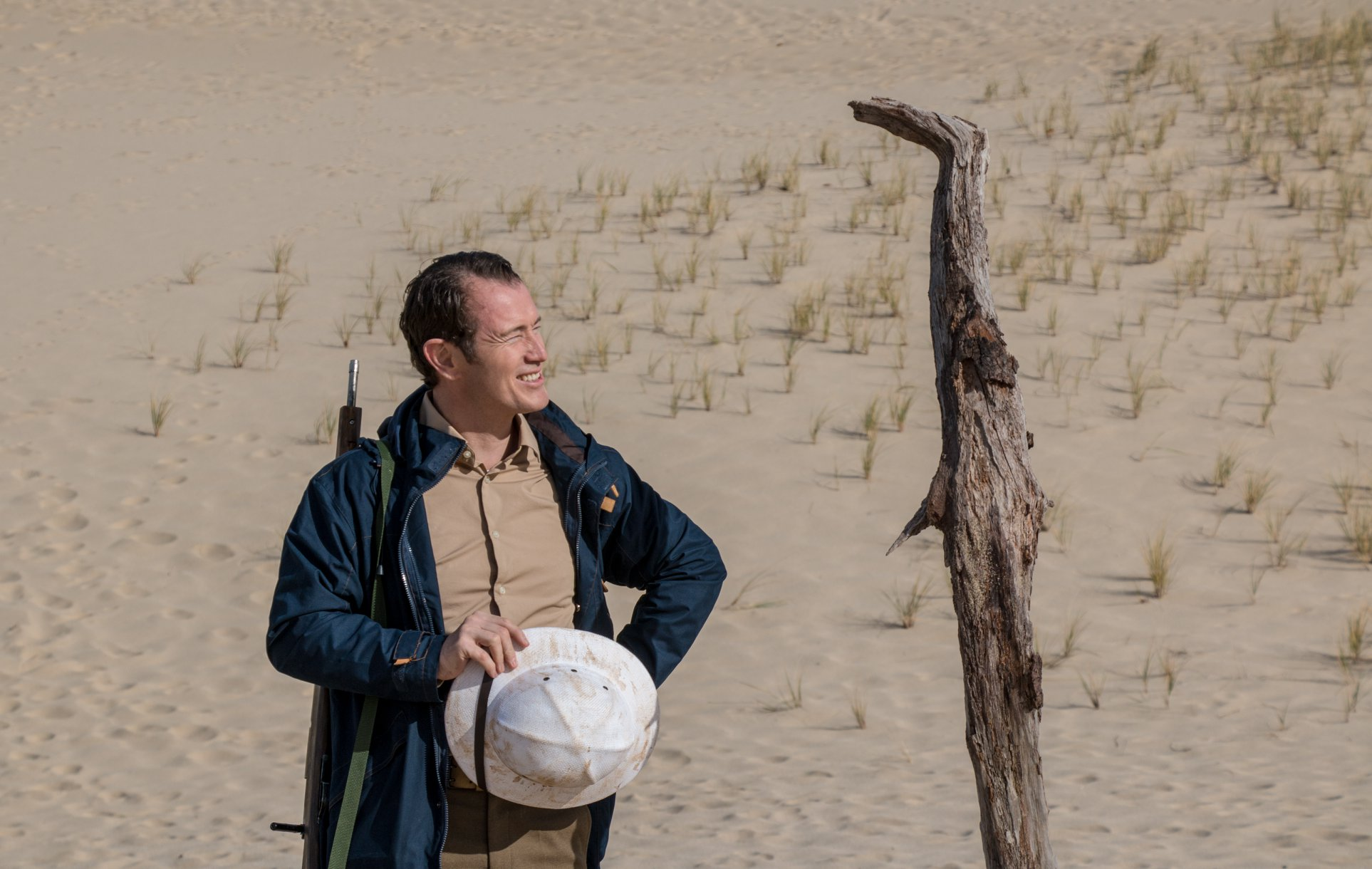 "Nick Moran has a chat with a stick during filming for ""Gilpin""."