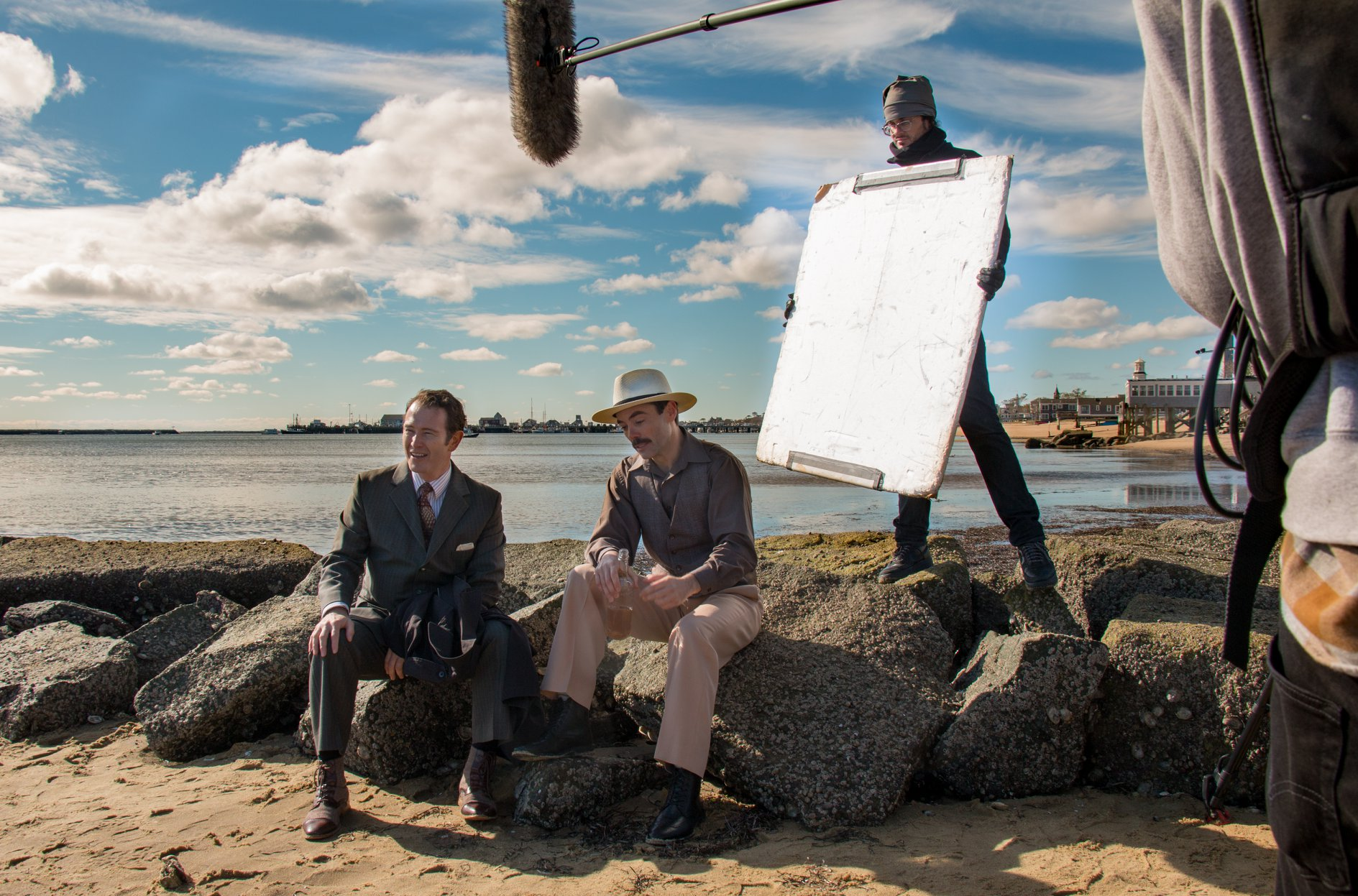 "Nick Moran and costar John Hensley take a break on the set of ""Gilpin""."
