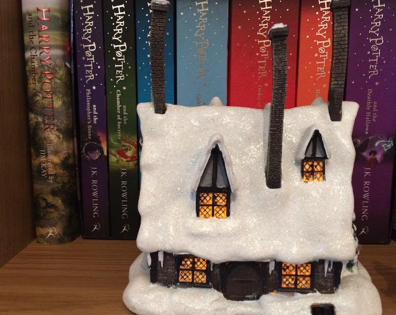 The chimneys attach to the model easily, and they make the pub look even more magical.