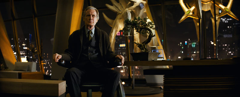 """Bill Nighy looks foreboding in a still from """"Detective Pikachu""""."""