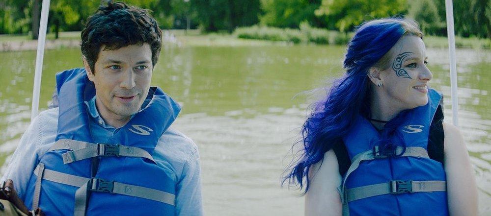 "Christian Coulson and Naomi McDougall Jones in ""Bite Me"", lake scene"