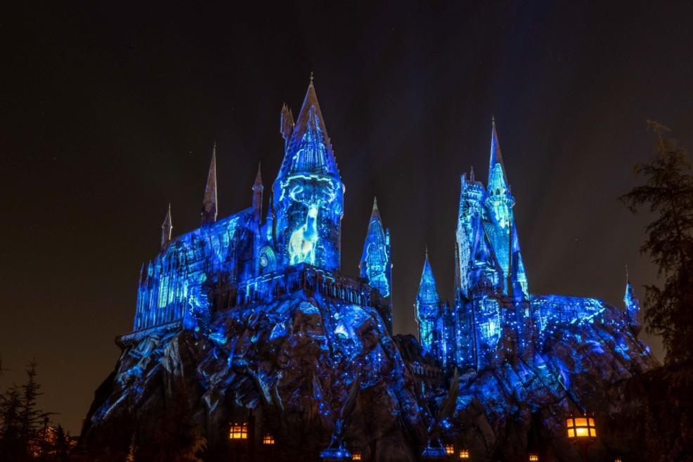 Harry's stag Patronus saves the castle from the dark creatures at the end of the show.