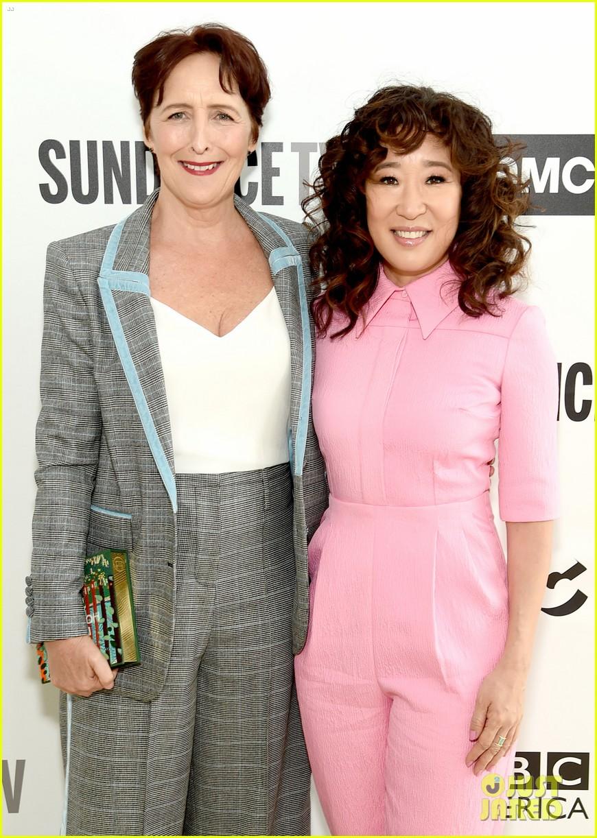 "Fiona Shaw smiles alongside ""Killing Eve"" costar Sandra Oh at the AMC Network Summit."