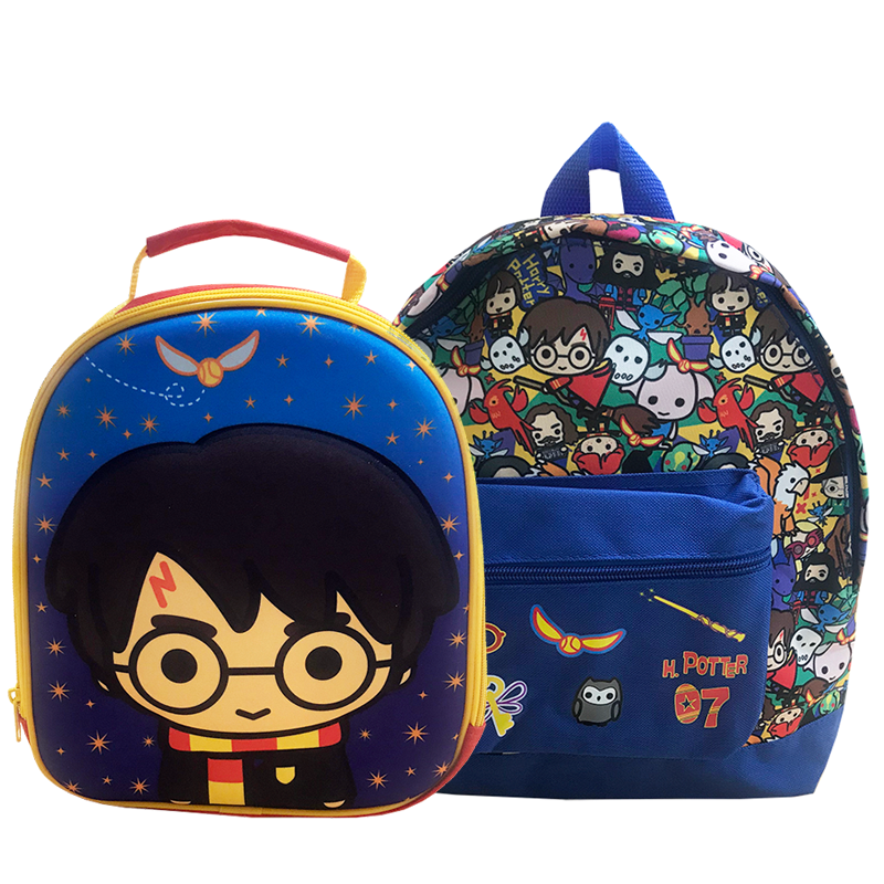 Harry Potter Backpack & Lunch Bag Bundle featuring Chibi Charm Harry Potter characters and Quidditch symbols