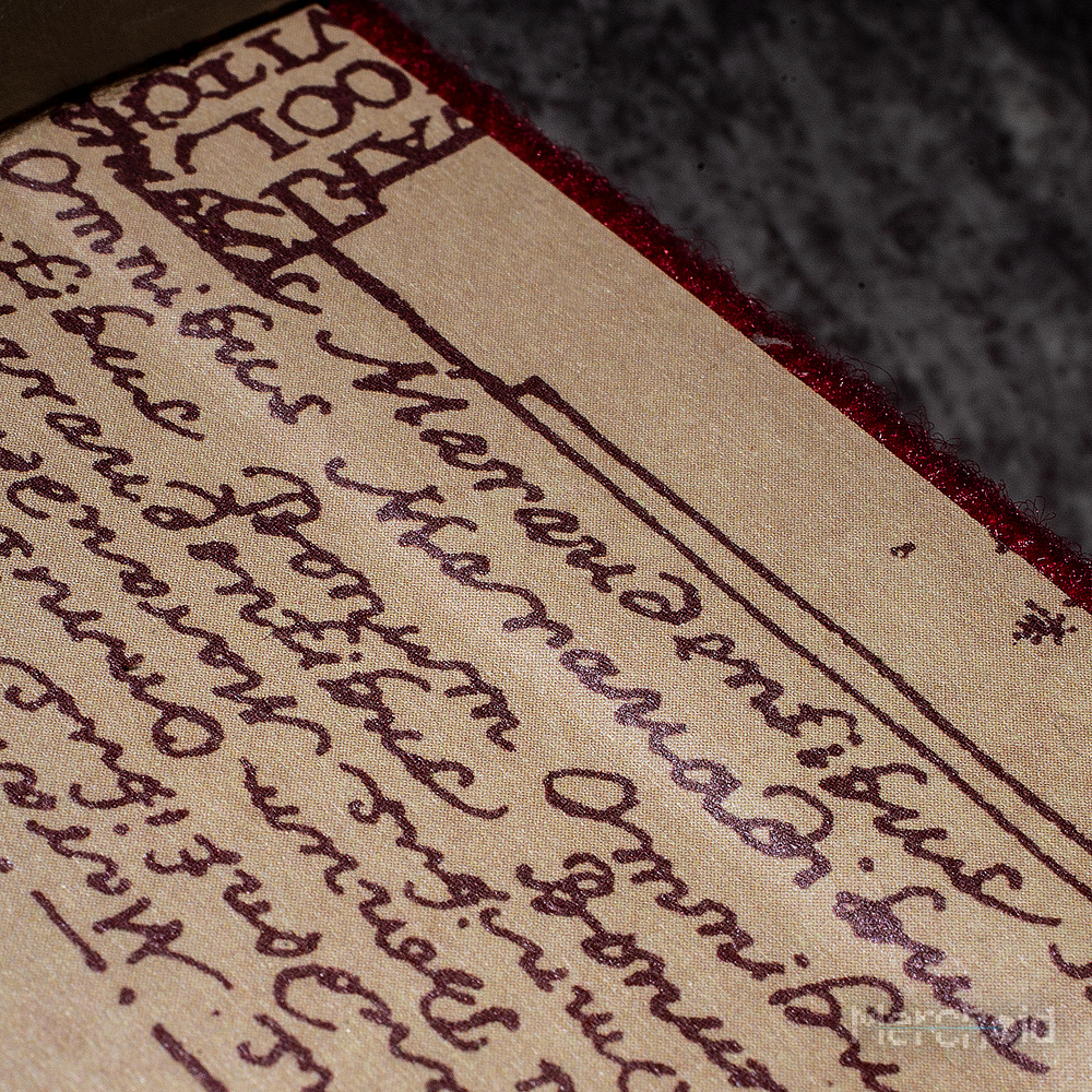 The inside back cover of the notebook shows detailing that can be found on the Marauder's Map.