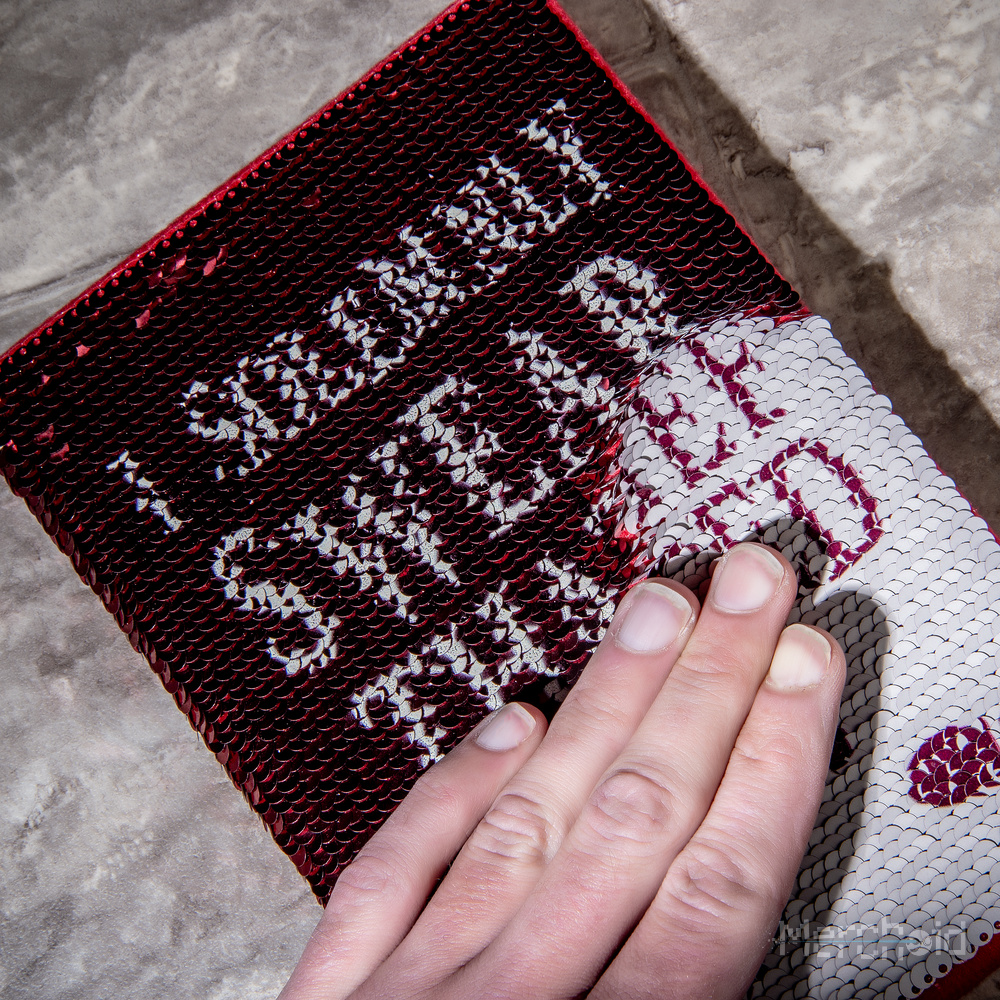 The magic of the sequin design means that the message can be changed easily and quickly.