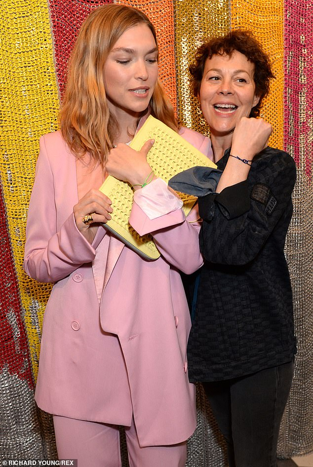 Helen McCrory poses with Arizona Muse at the Bottletop campaign launch in London.