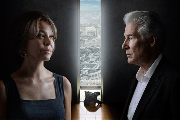 """Helen McCrory alongside Richard Gere in a poster for """"MotherFatherSon"""""""