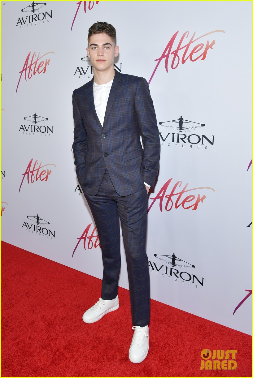 """Hero Fiennes-Tiffin poses at the Los Angeles premiere of """"After""""."""