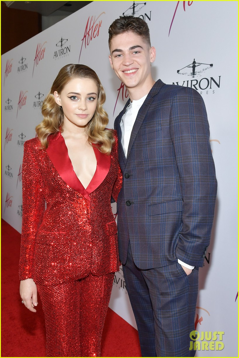 """Hero Fiennes-Tiffin smiles alongside costar Josephine Langford at the """"After"""" premiere."""