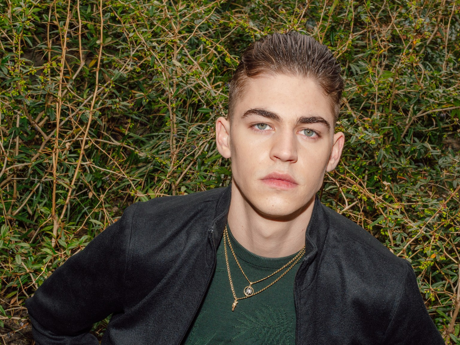 "Hero Fiennes-Tiffin poses for ""W""."