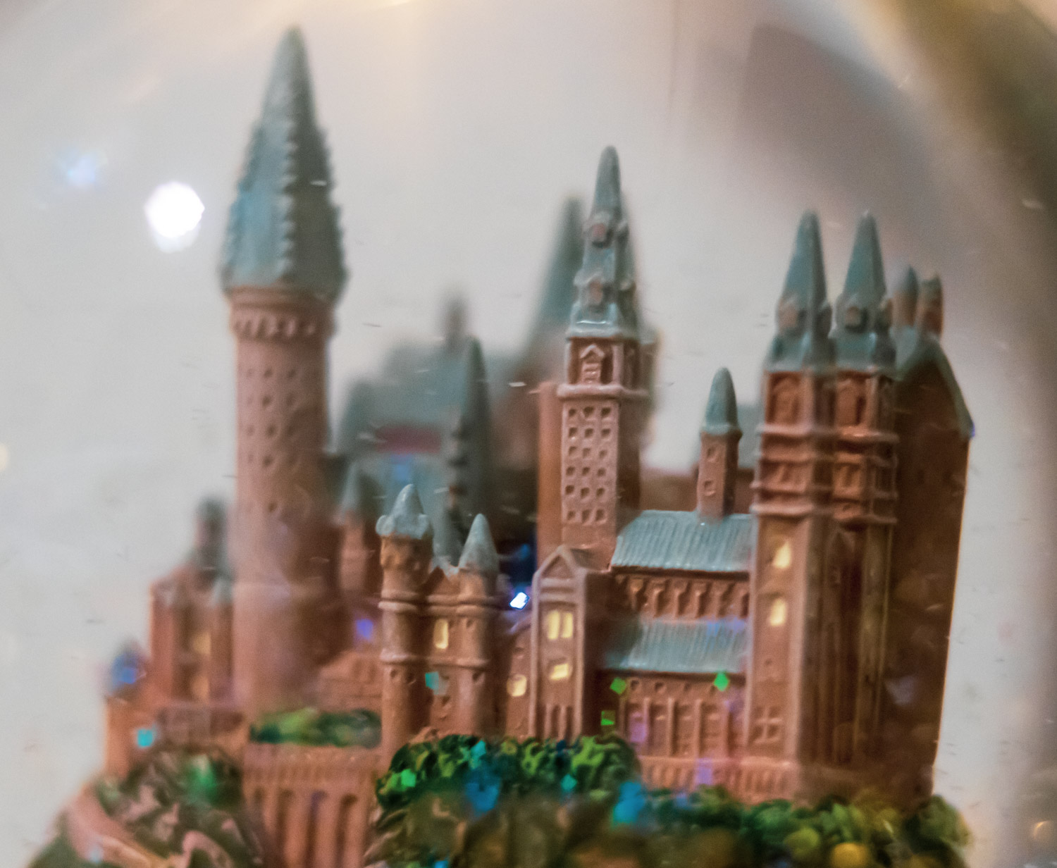 "Close-up of HOGWARTS™ Castle with glitter inside of the ""HOGWARTS™ Express"" Glitter Globe"