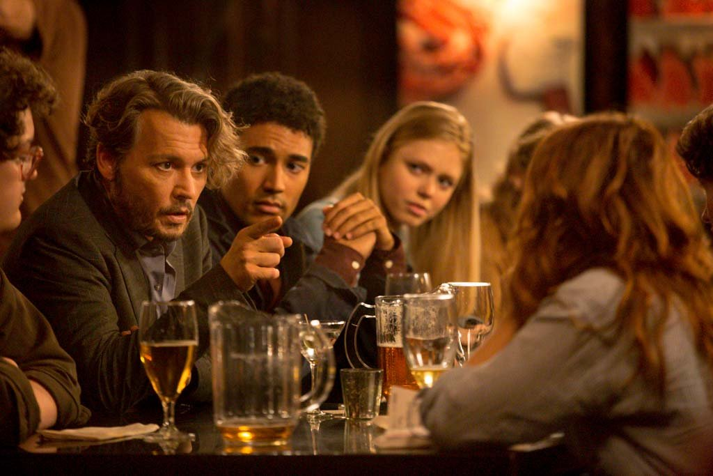 """Johnny Depp has a heart-to-heart with his students over drinks in """"The Professor""""."""
