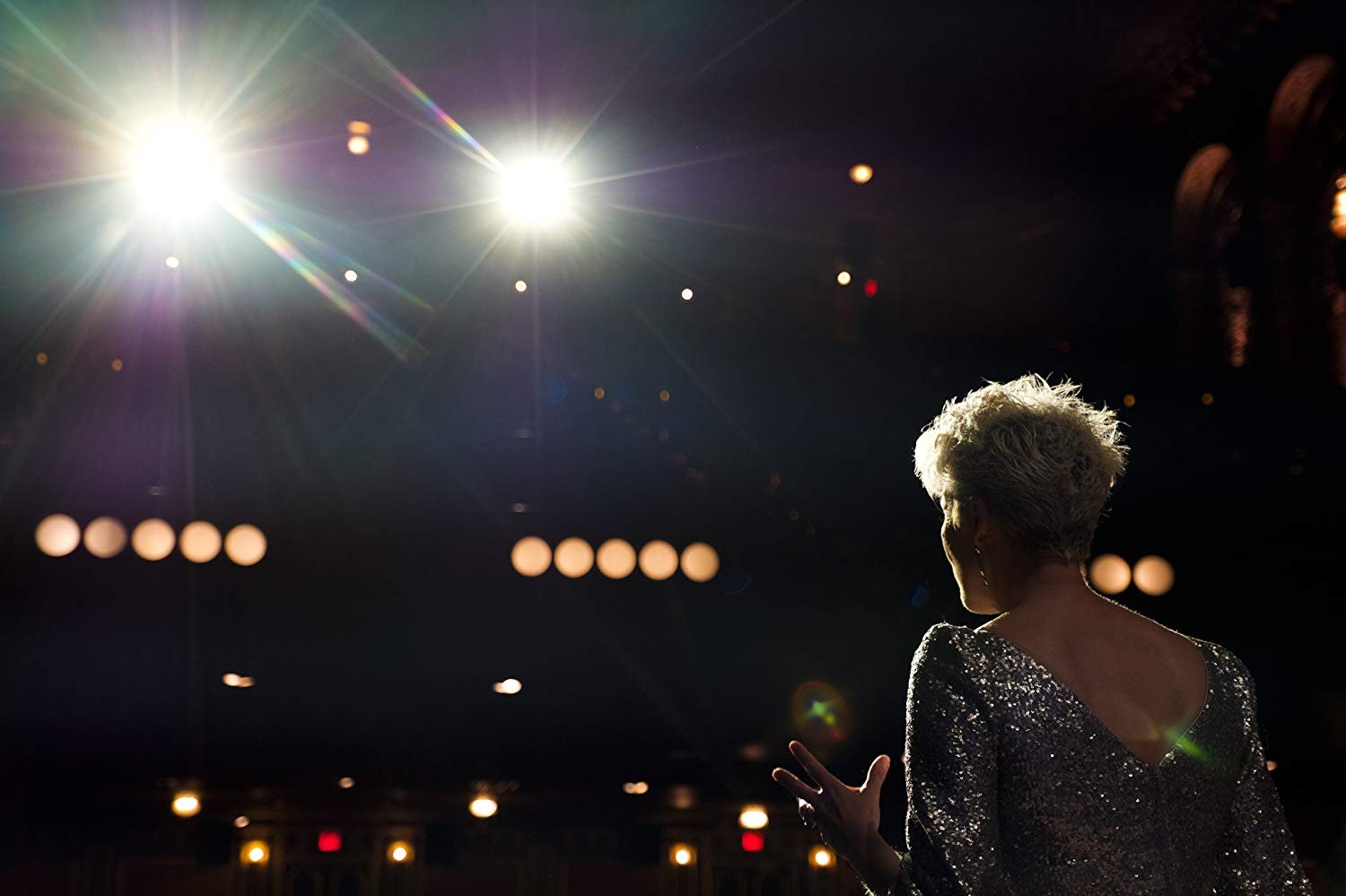 "Dame Emma Thompson faces her audience in this still from ""Late Night""."