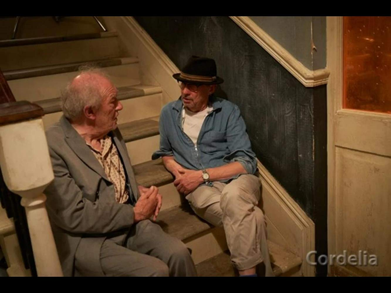 """Sir Michael Gambon chats with Adrian Shergold on the set of """"Cordelia""""."""