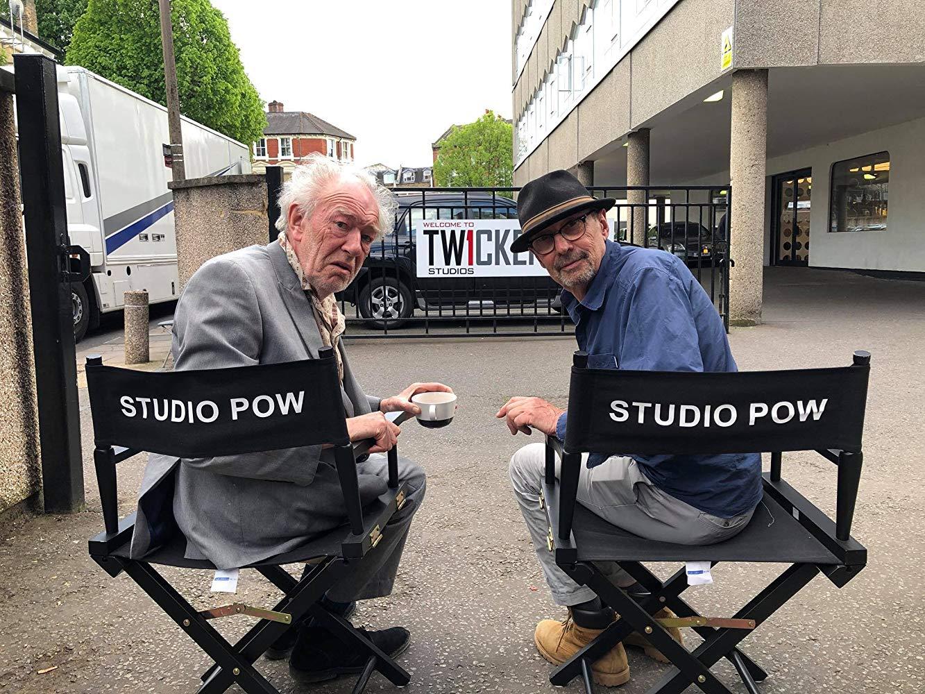 "Sir Michael Gambon and Adrian Shergold take a break from filming ""Cordelia""."