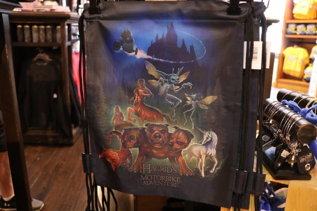 This themed bag features many of the creatures and even Hagrid on his motorbike.