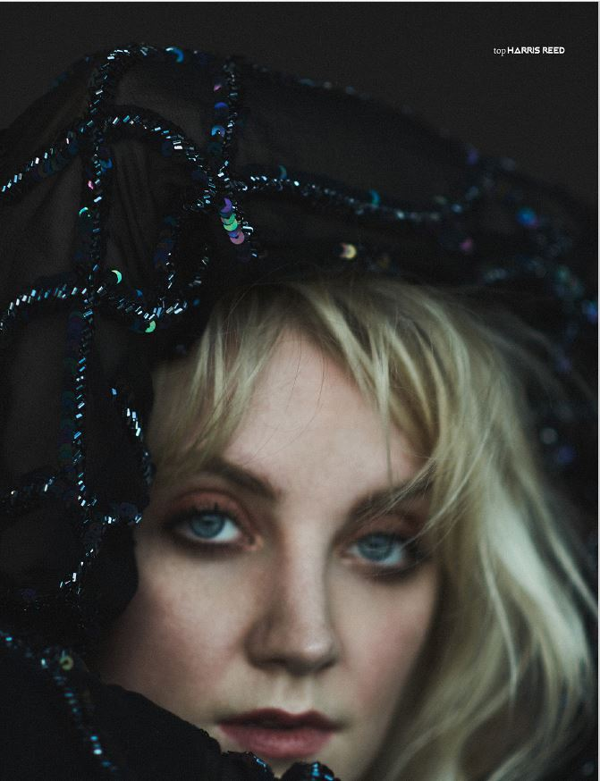 """PIBE Magazine"" – Evanna Lynch in a dark sequined top"
