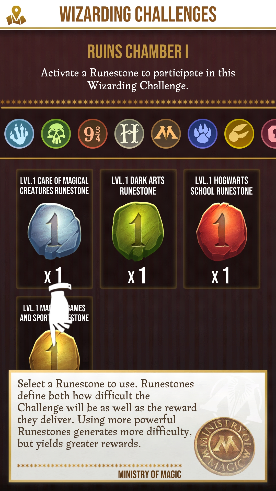 Players activate runestones to activate challenges.