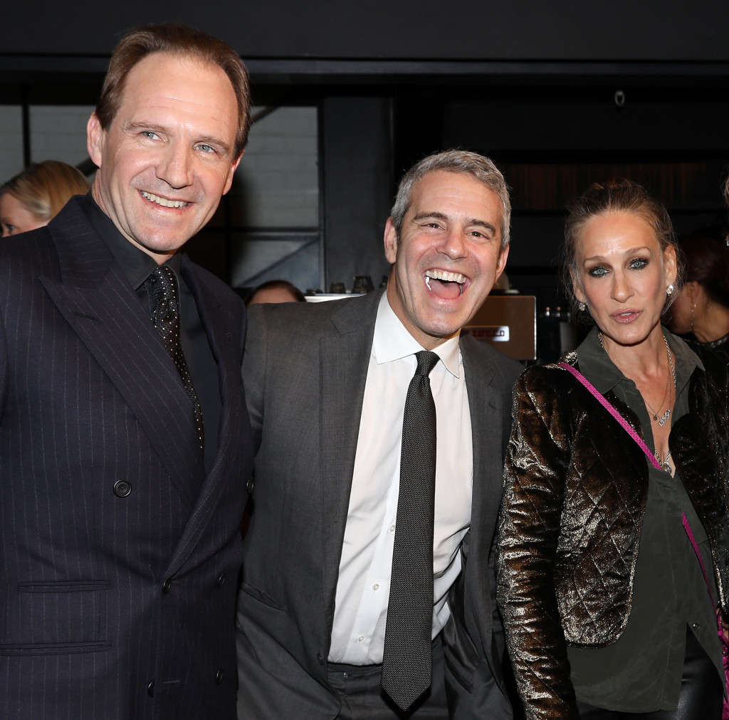"""Ralph Fiennes smiles alongside friends Andy Cohen and Sarah Jessica Parker following a screening of """"The White Crow"""" in New York."""