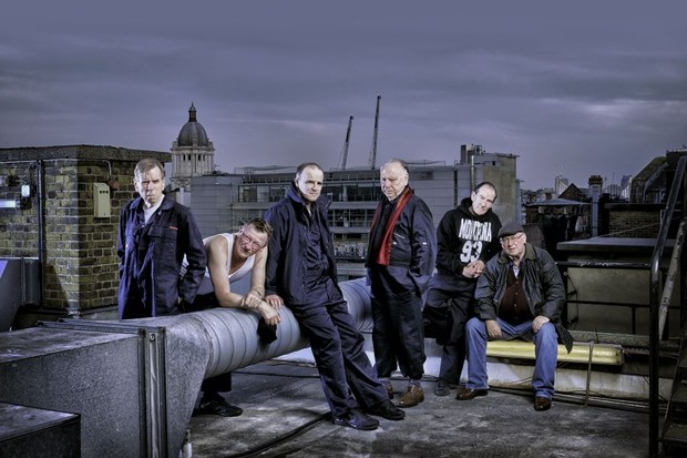 """Timothy Spall, far left, and the cast of """"The Hatton Garden Heist"""" pose for a photo."""