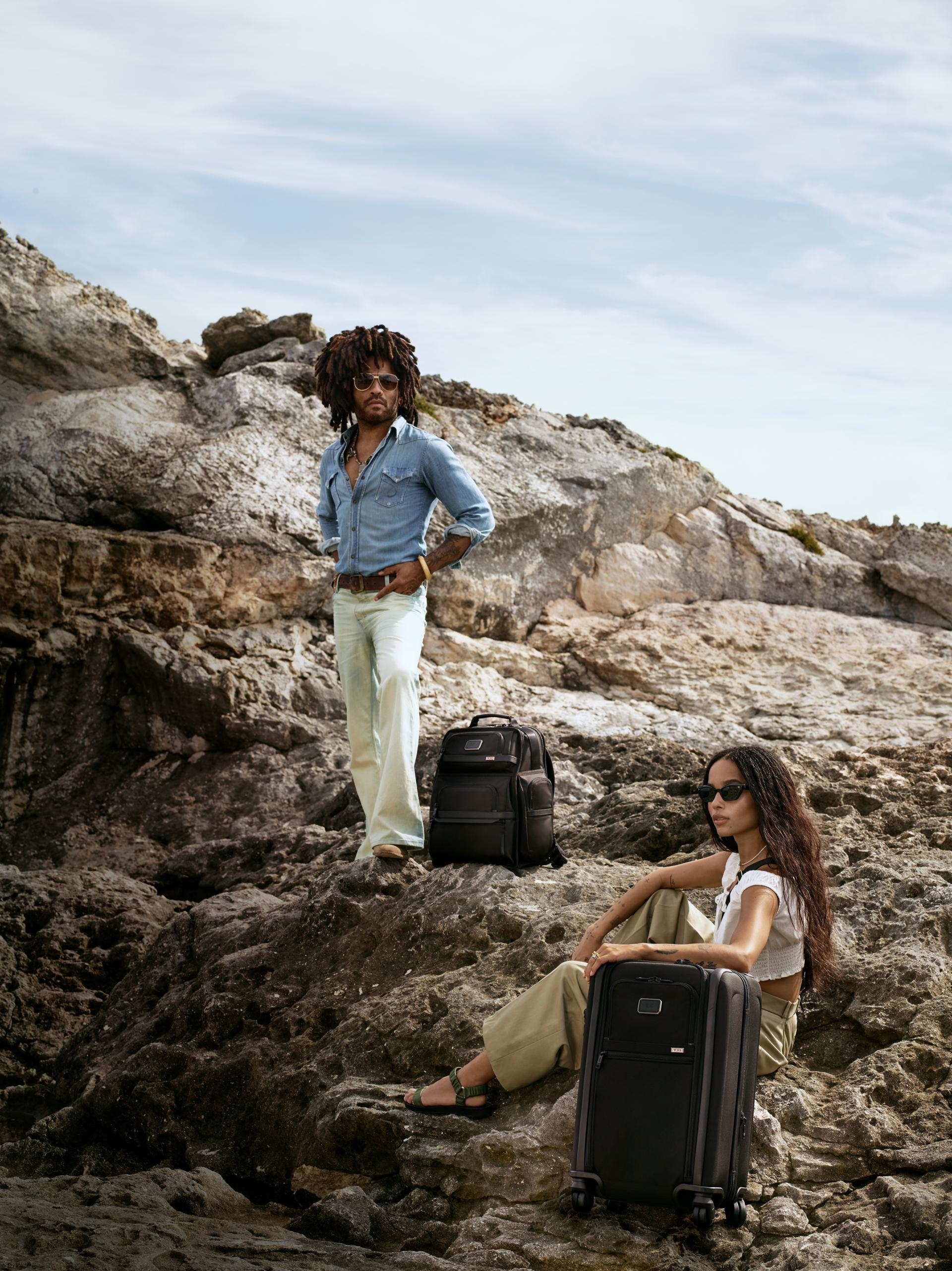 Zoë Kravtiz poses with her father, Lenny Kravitz, in images from TUMI's new campaign.