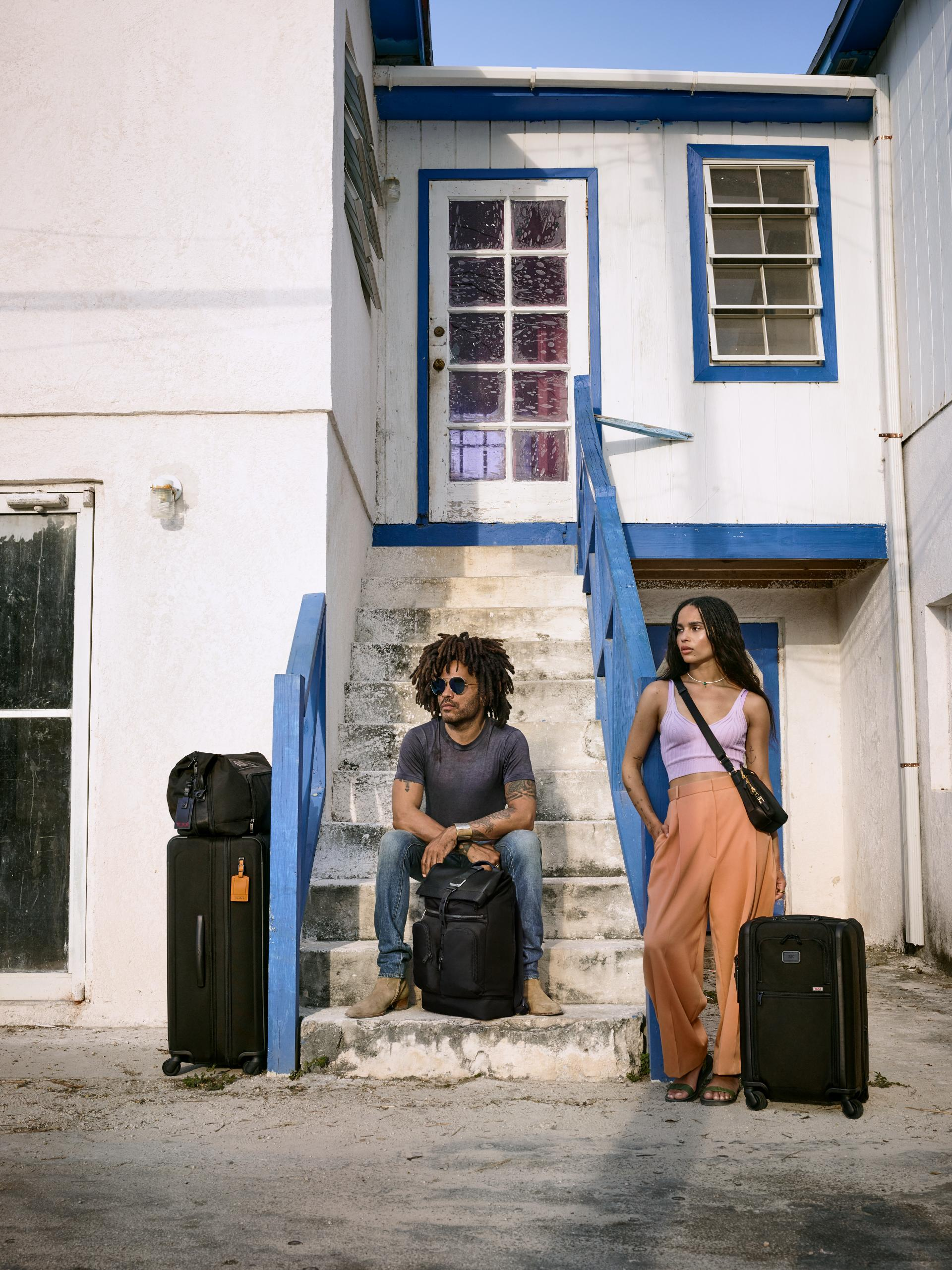 Zoë and Lenny Kravitz pose in a new campaign from TUMI.