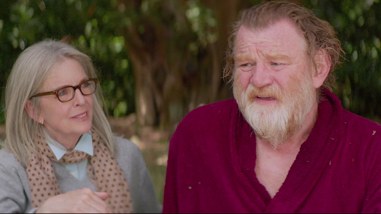 "Brendan Gleeson and Diane Keaton act in a scene from ""Hampstead""."