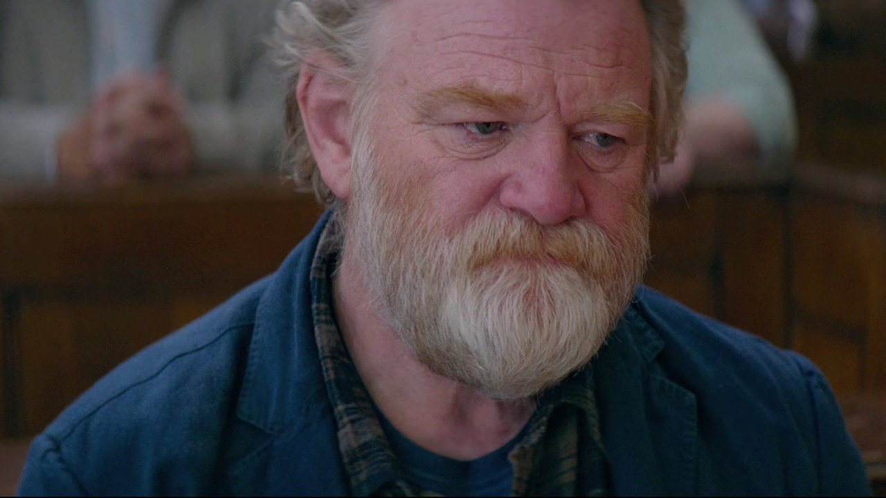 "Brendan Gleeson looks pensive in a scene from ""Hampstead""."