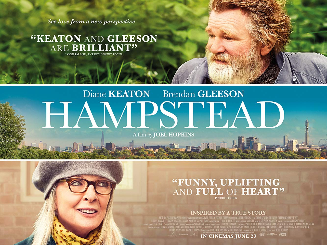 "A movie poster for the film ""Hampstead"", starring Brendan Gleeson and Diane Keaton"