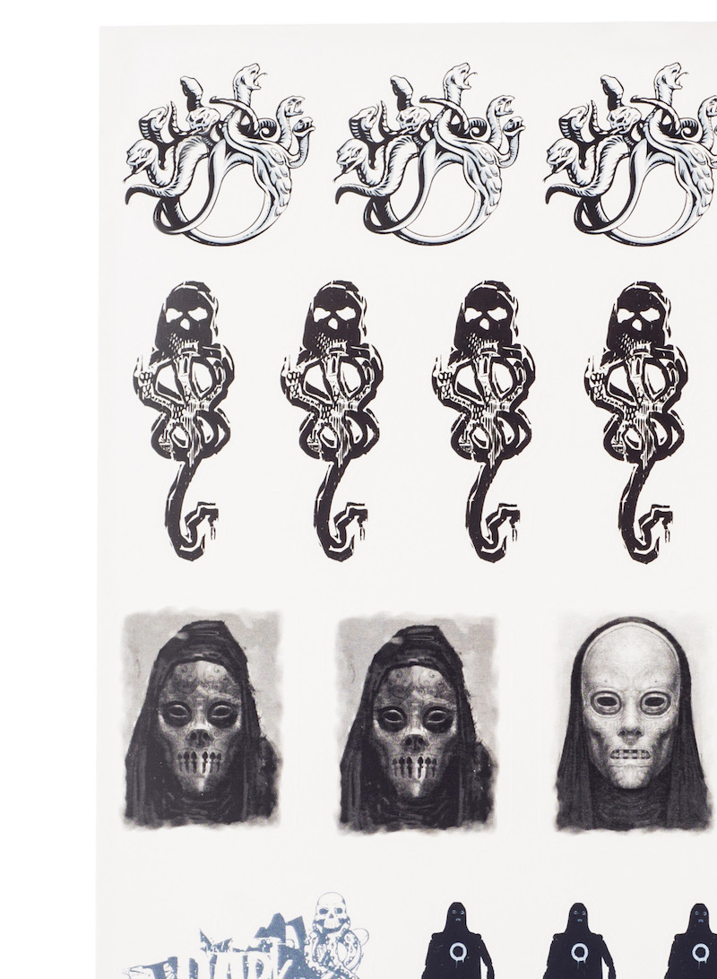 ConQuest HP Dark Arts Sticker Sheet close-up, featuring Dark Marks and Death Eaters