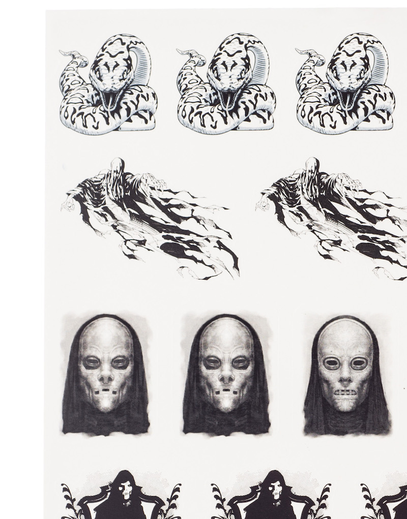 ConQuest HP Dark Arts Sticker Sheet close-up, featuring Nagini, Dementors, and Death Eaters