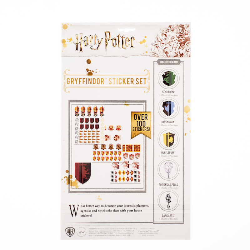 ConQuest HP Gryffindor House Sticker Set packaging, back