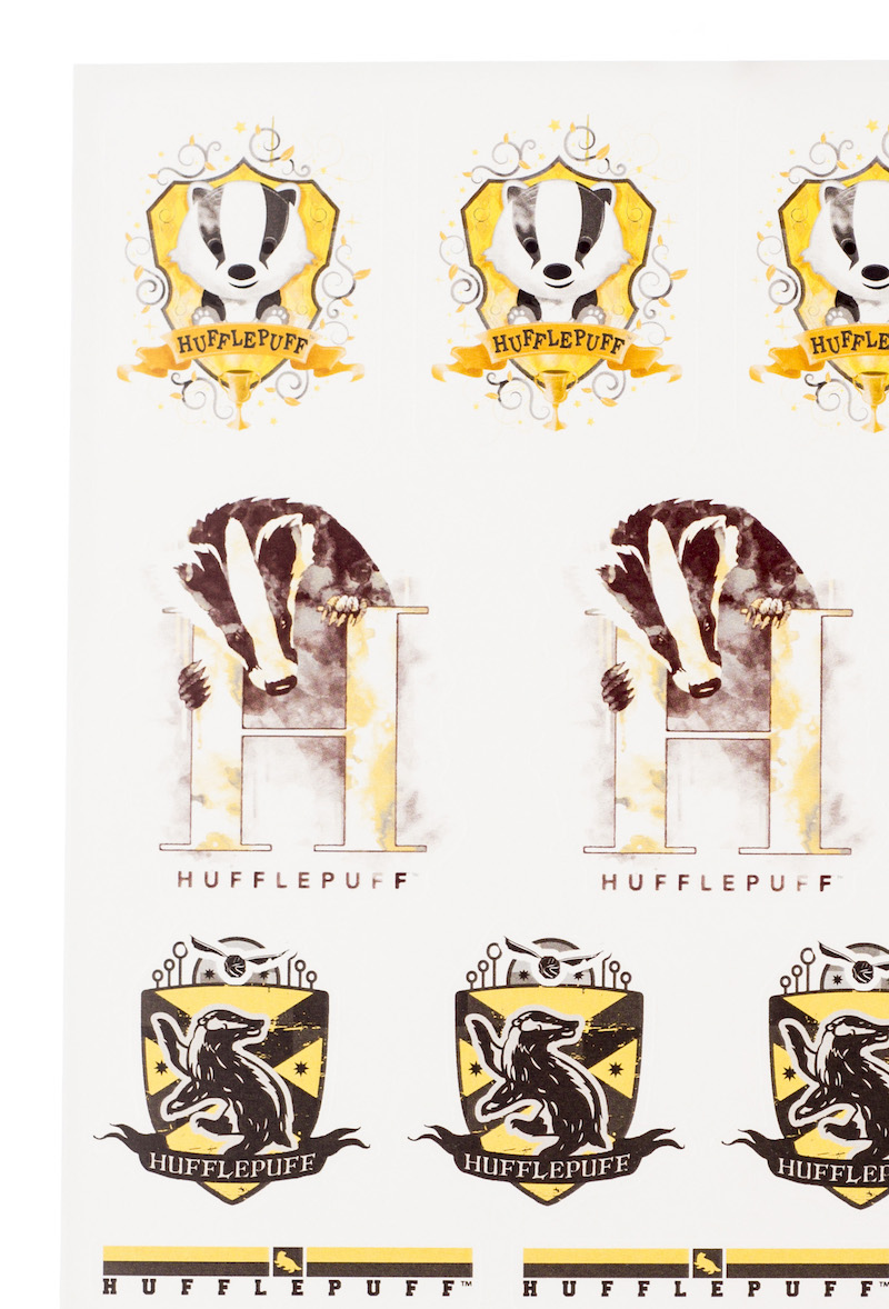ConQuest HP Hufflepuff House Sticker Set close-up baby badger crest