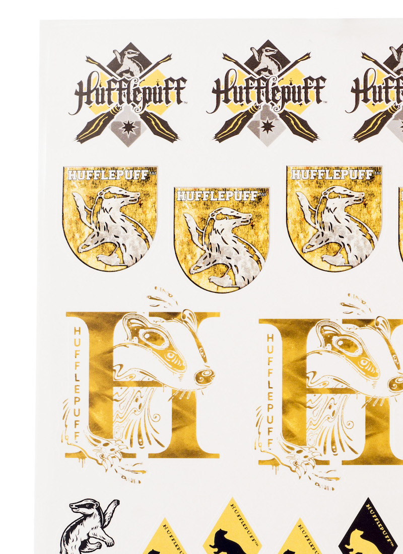 ConQuest HP Hufflepuff House Sticker Set close-up crests