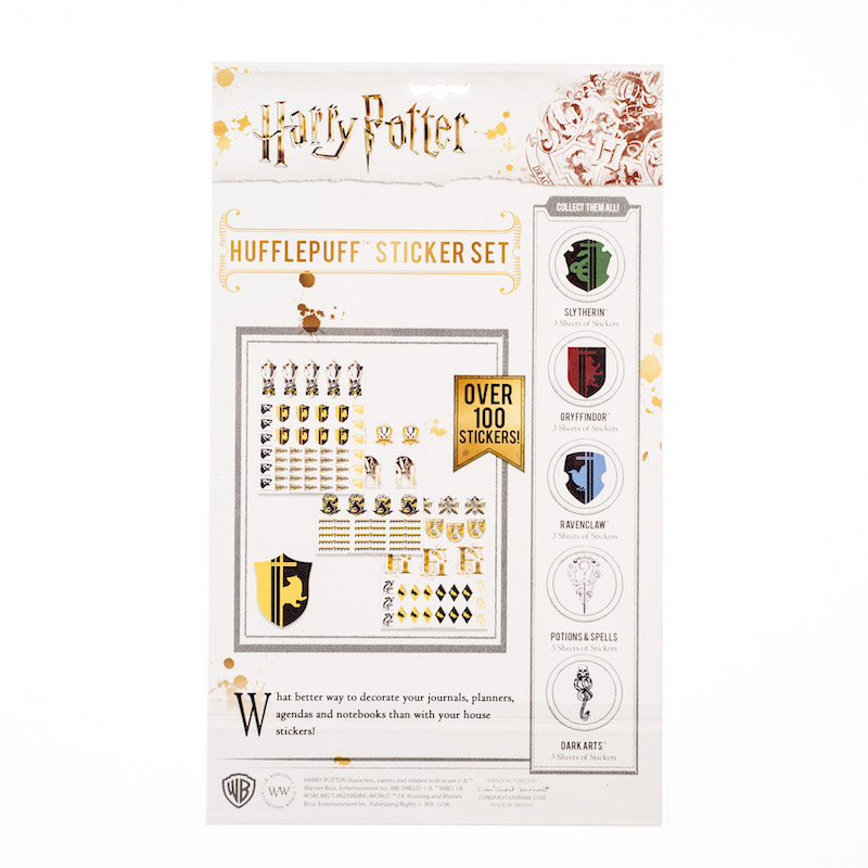 ConQuest HP Hufflepuff House Sticker Set packaging, back