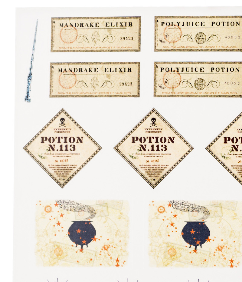 ConQuest HP Potions and Spells Sticker Sheet close-up, featuring mandrake elixir and Potion N.113