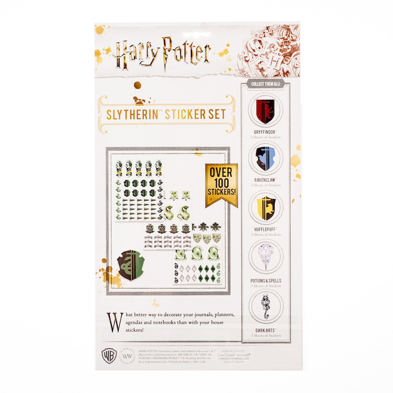 ConQuest HP Slytherin House Sticker Set packaging, back