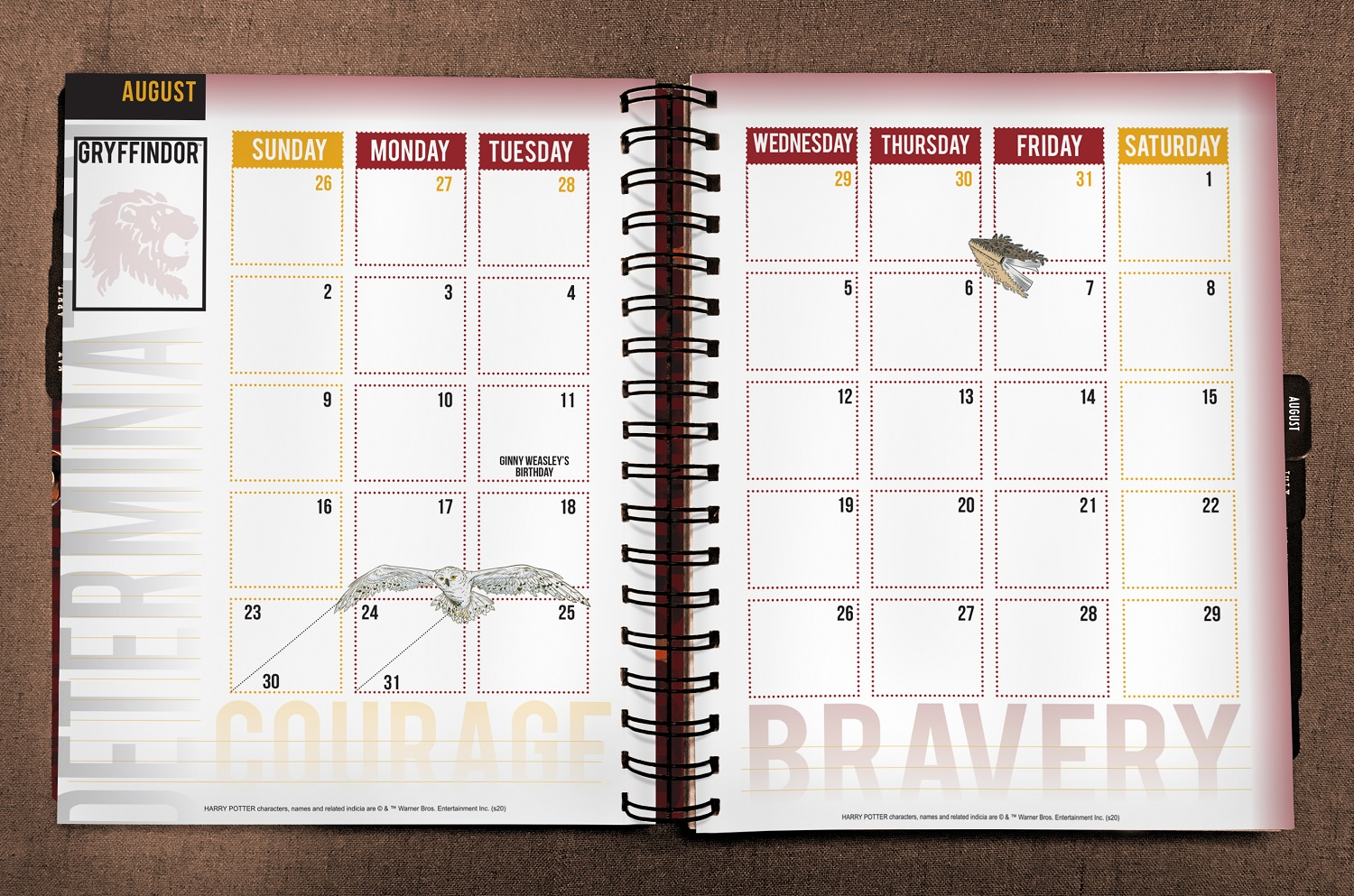 ConQuest Harry Potter Gryffindor 2020 inside monthly spread