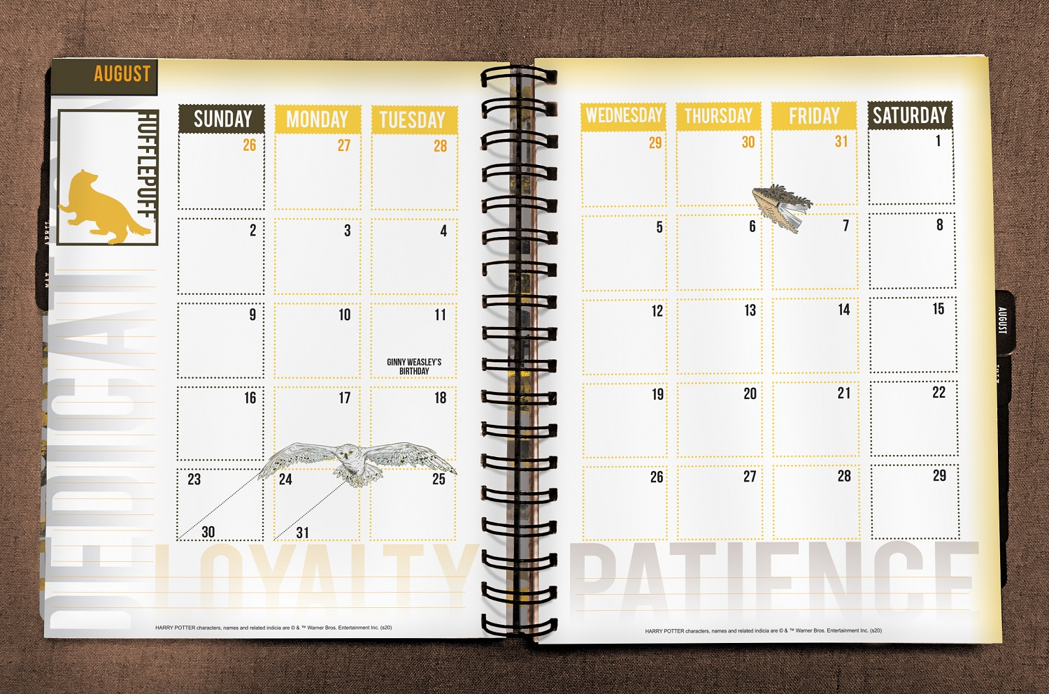ConQuest Harry Potter Hufflepuff 2020 inside monthly spread