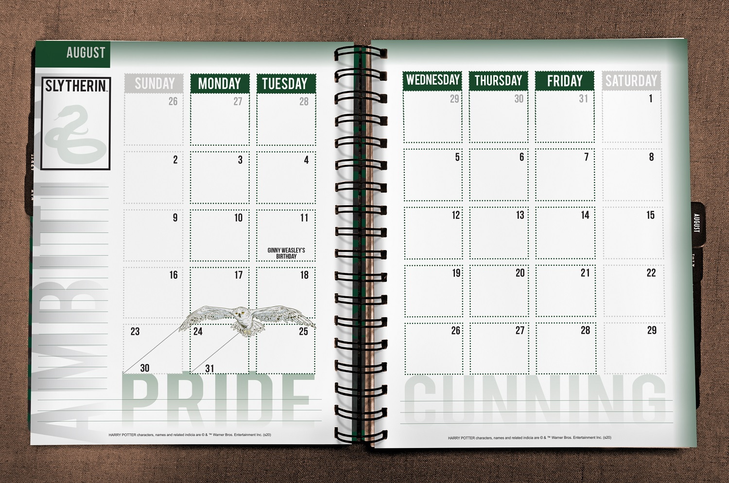 ConQuest Harry Potter Slytherin 2020 inside monthly spread