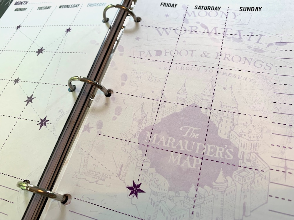 ConQuest Journals Celestial Planner purple month close-up