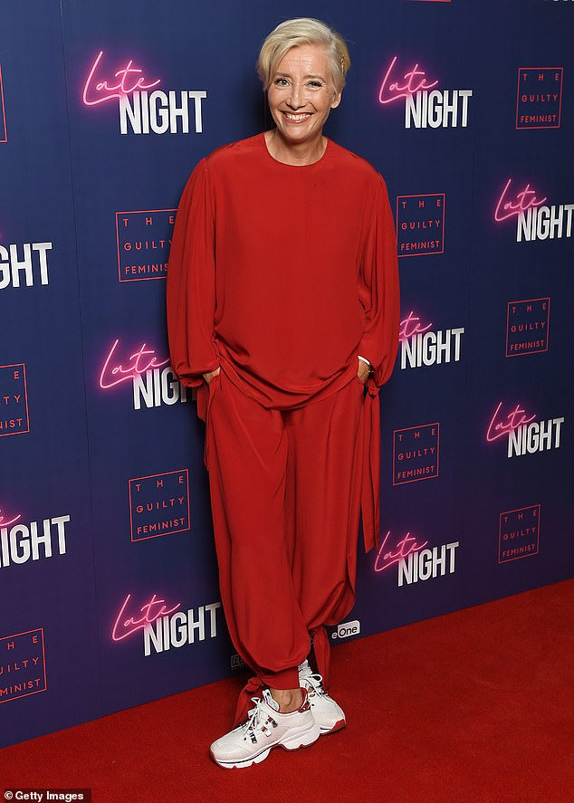 "Emma Thompson looks comfy while posing at a London screening of ""Late Night""."