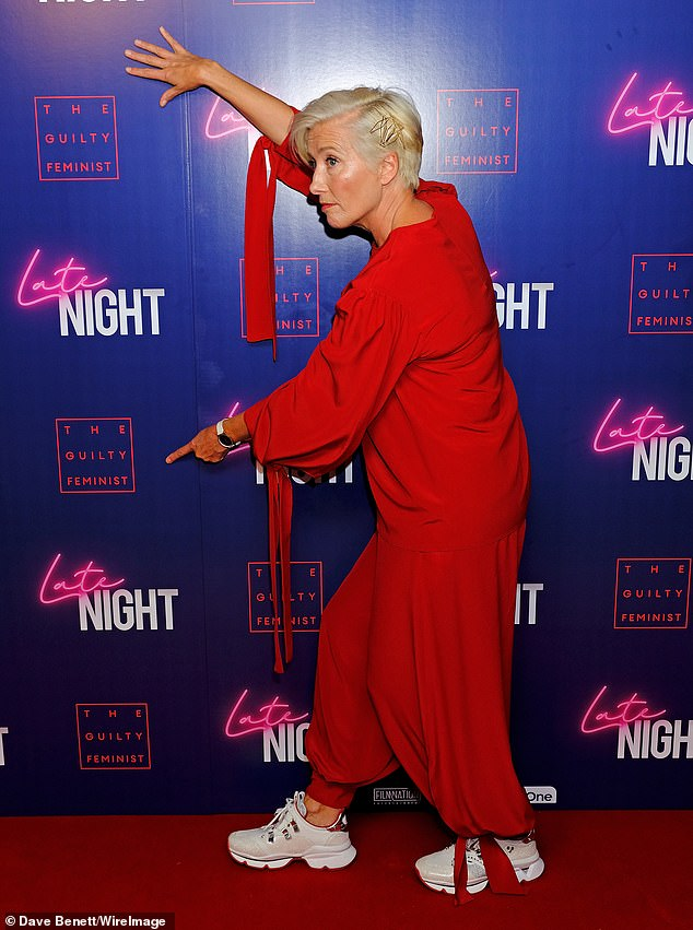 "Emma Thompson makes sure everyone knows what they're there to see at a London screening of ""Late Night""."