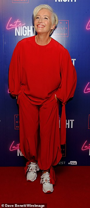 """Emma Thompson smiles at a London screening of """"Late Night""""."""