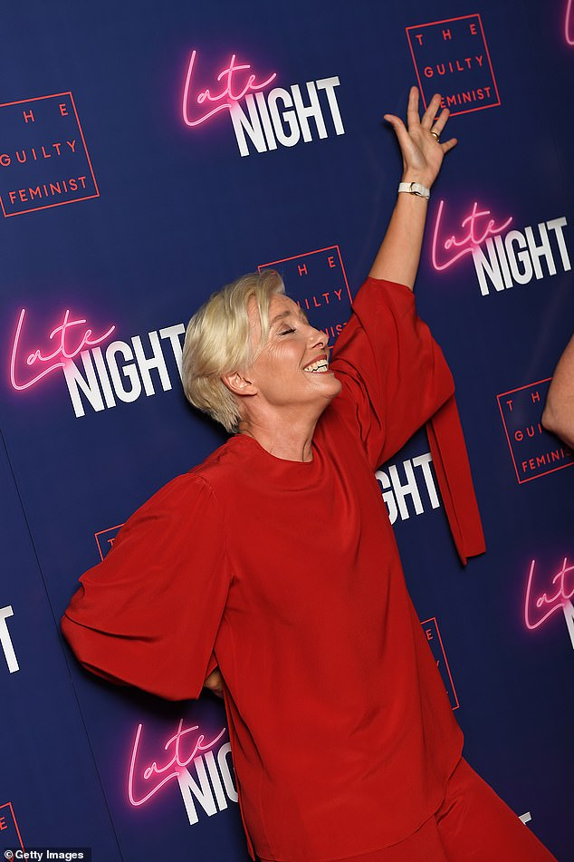 "Emma Thompson mugs for the camera at a London screening of ""Late Night""."