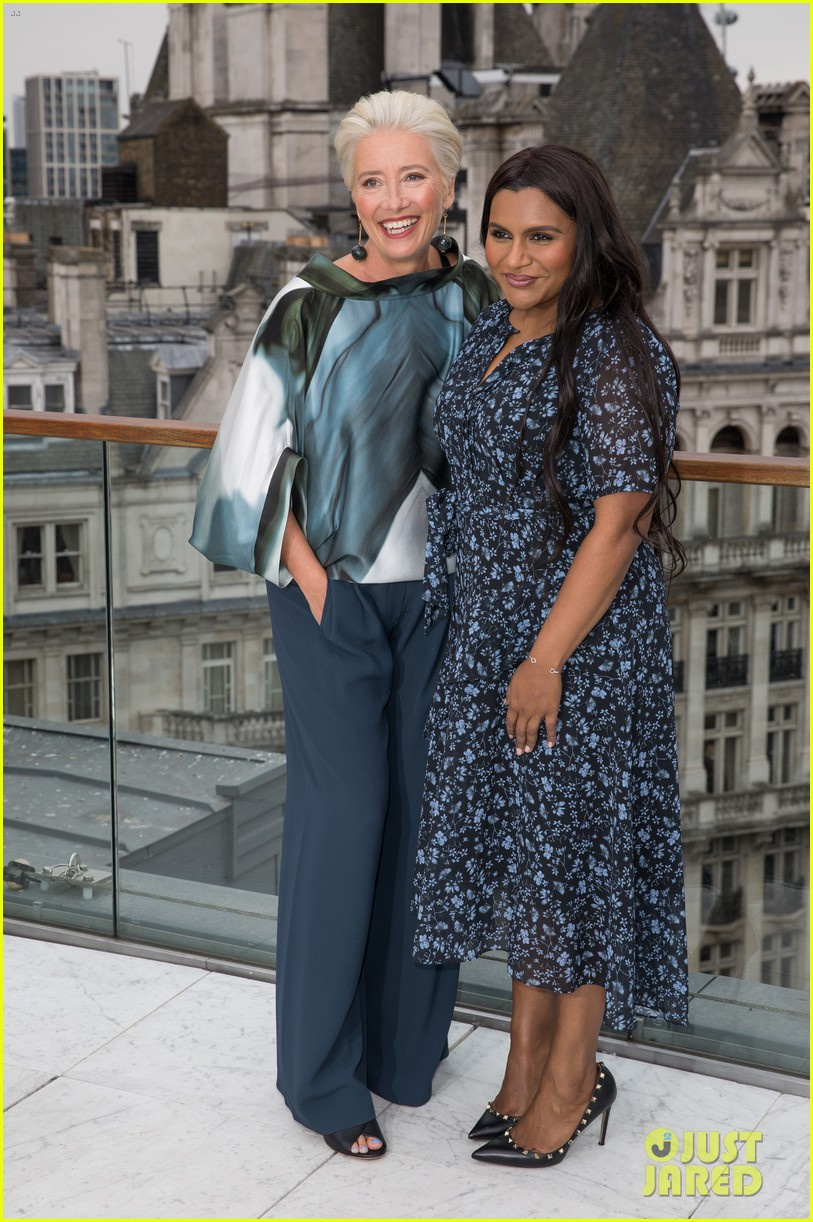 "Emma Thompson and Mindy Kaling pose during a London photocall for ""Late Night""."