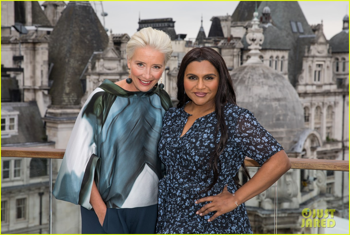 "Emma Thompson and Mindy Kaling strike a pose during a London photocall for ""Late Night""."