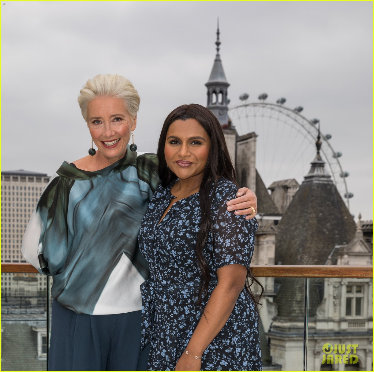 "Emma Thompson and Mindy Kaling pose with the London Eye in the background during a London photocall for ""Late Night""."